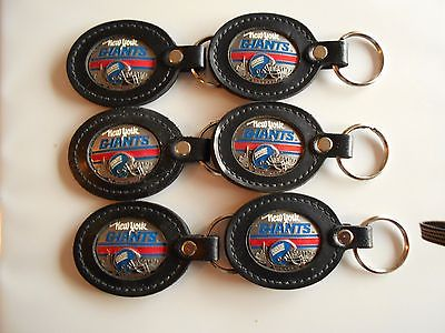 6  NY GIANTS NFL FOOTBALL LEATHER DELUXE KEYCHAIN FOBS