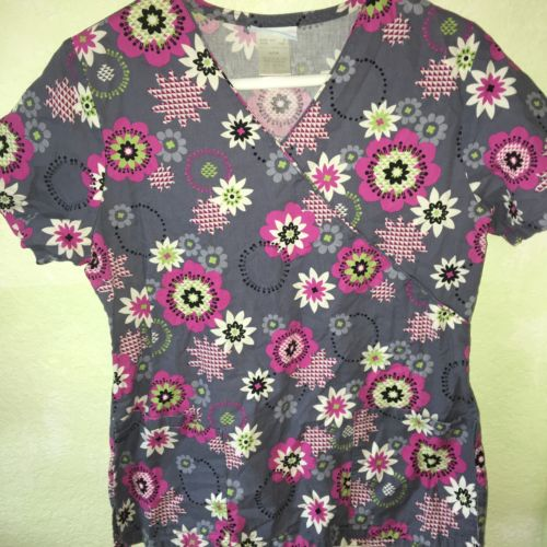 Pre-Owned SB Scrub Womans Scrub Top Size S Floral Print Multicolor