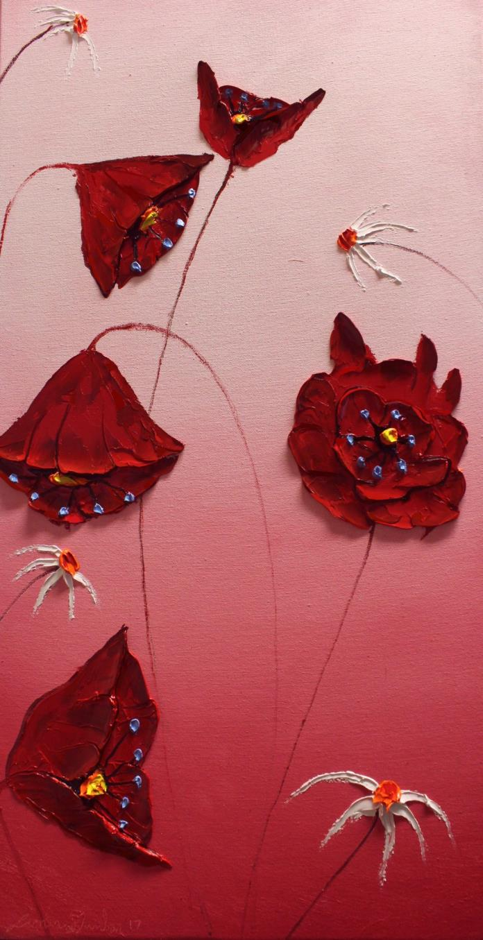Pink Sky Red Poppies #17