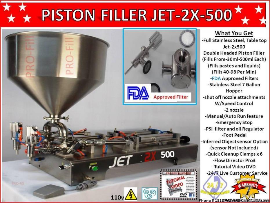 Piston Filler Double Head JET-2x500 Fills Liquids,Pastes, Scrubs, Peanut butter