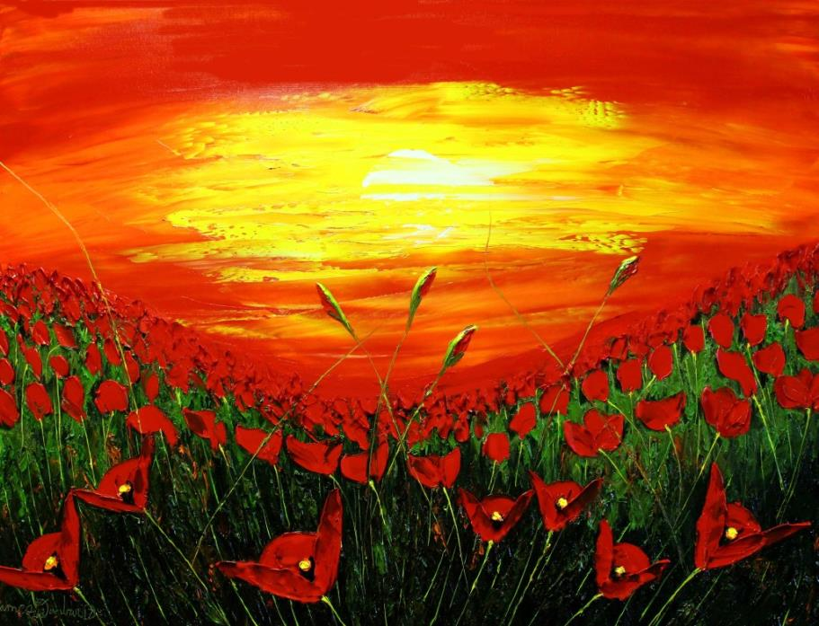Field Of Red Poppies At Dusk #2
