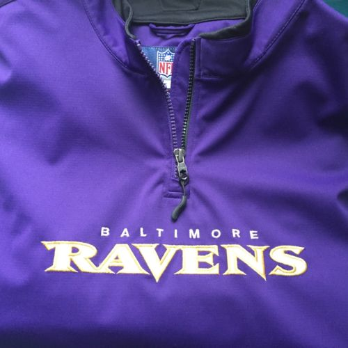 BALTIMORE RAVENS 1/4 Zip Pullover NFL Authentic Sidelines Reebok Sz. XL Football