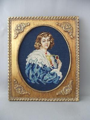 VTG COMPLETED LADY PORTRAIT PETIT POINT & NEEDLEPOINT on GOLD GILT WOOD FRAME