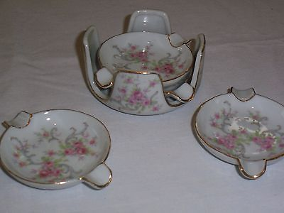 Vintage Lefton China Floral Hand Painted Stacking Ashtrays