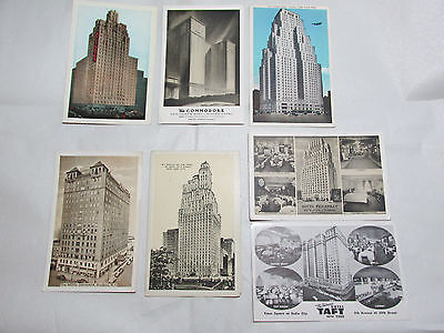 Lot of 7 Vintage NEW YORK CITY Hotel Postcards Commodore St. Moritz Granada Taft