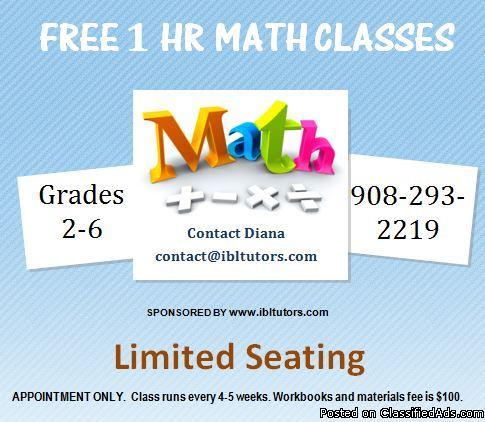 FREE 1 hr Math Tutoring (Grades 2-6 Tutoring in Union NJ)