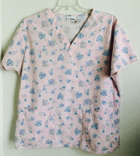Apple Life Womens Floral Flowers Pink Checkered Scrub Top Size Large Spring