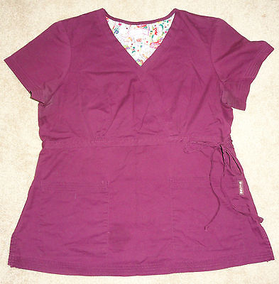 Koi by Kathy Peterson Cotton/Polyester Women's Scrub Top Size Large, Burgundy
