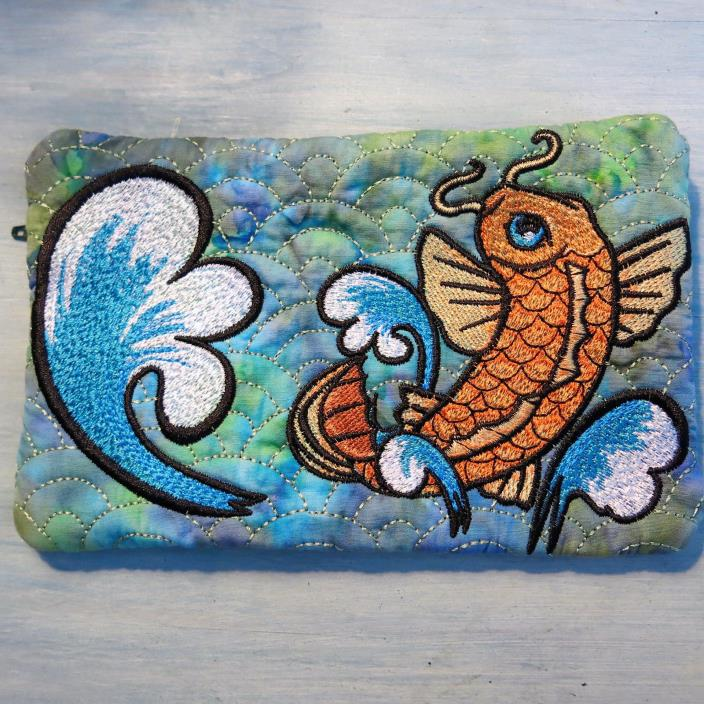 Quilted Embroidered Koi Fish Zippered Case Wallet Purse