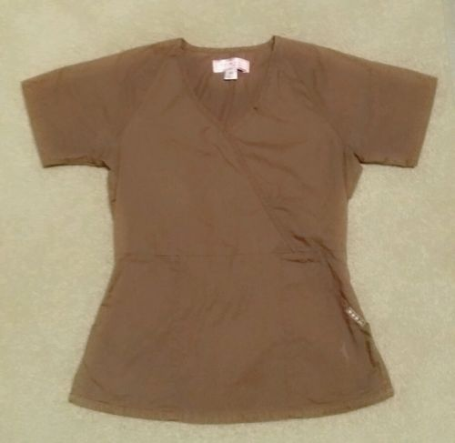 Koi by Kathy Peterson Solid Brown Womens Scrub Top Size Extra Small
