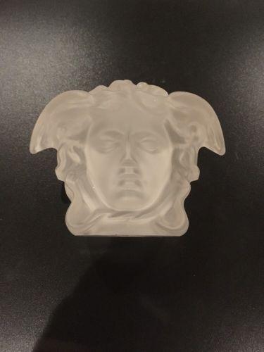 VERSACE PAPERWEIGHT MEDUSA GORGONA IREDESCENT HEAD ROSENTHAL DAUM STYLE RETIRED