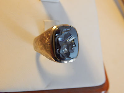 Estate Men's 14K Gold Itaglio Hematite Ring 11.6 Grams Size 8.75