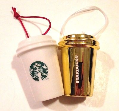 TWO COLLECTIBLE Starbucks Coffee Cup Christmas Tree Ornaments! FREE SHIPPING!