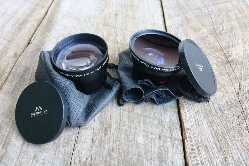 Merkury Optics 0.45X w Macro Wide 58mm + 2.0 Macro w/ Pouches 58mm Digital Video