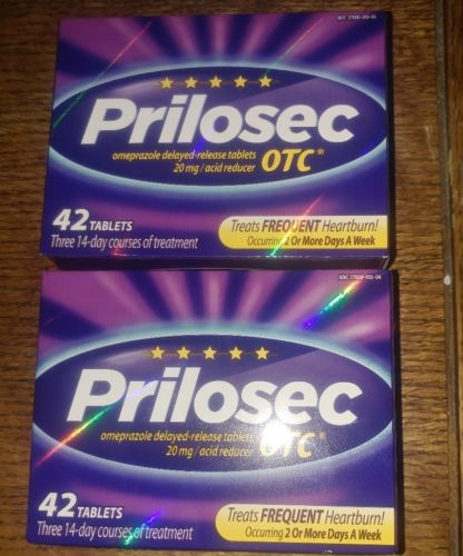 LOT of 2 - Prilosec OTC Tablets - 84 tablets ( 42X2 ) EXP 5-2019