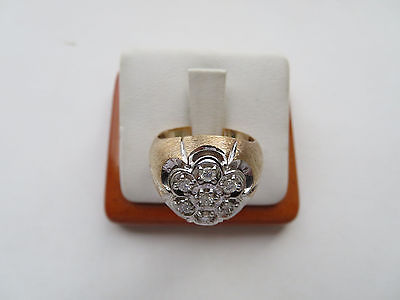 Estate Men's 10K Yellow and White Gold Size 9.75 Diamond Ring 9.5 Grams
