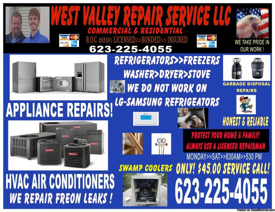 Appliance REPAIR SERVICE ~ Washer leaking water  Refrigerator not Cold Give Us...