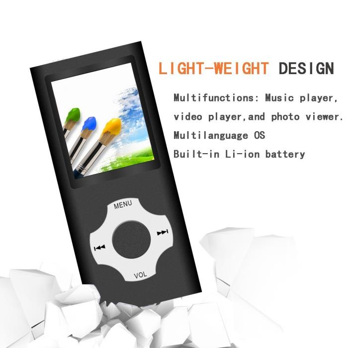 MP3 / MP4 Player Rhombic Button Portable Music Video Player 16 GB Micro SD Card