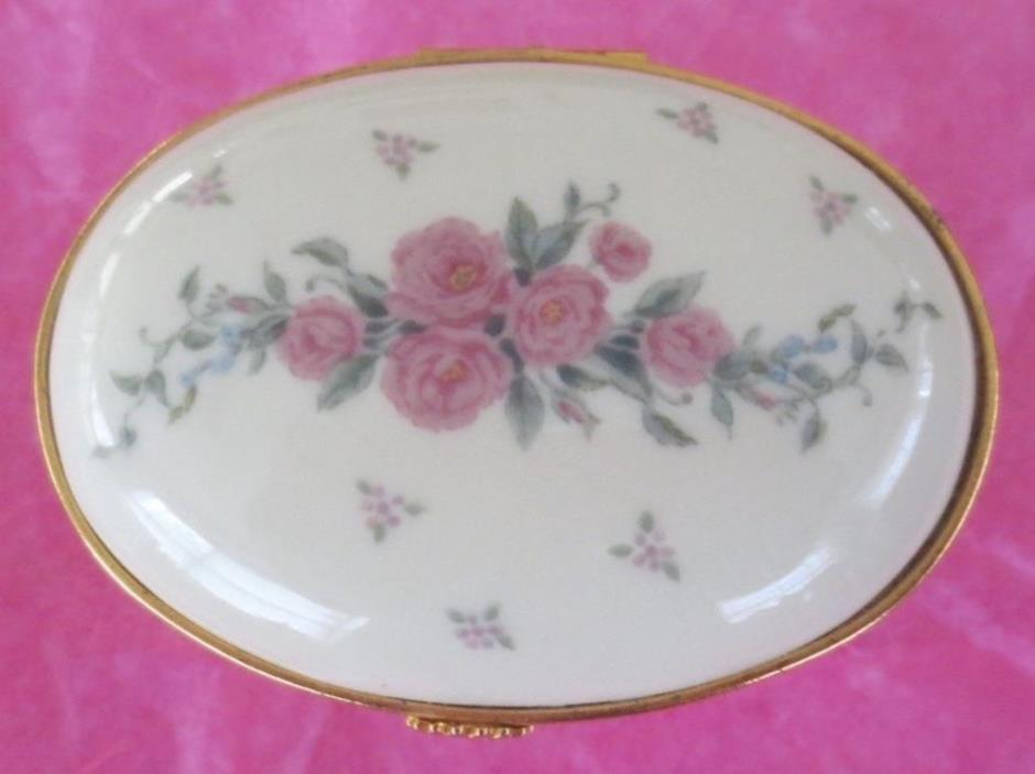 LENOX Trinket PillBox Petite Rose Oval Hinged Jewelry Porcelain Cream Pink Gold