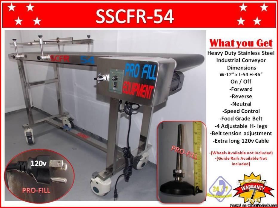 Conveyor SSCFR-54, Stainless Steel Industrial, Food Grade Belt