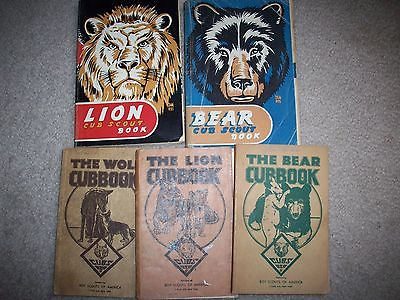 Lot VINTAGE Old LION & Bear CUB SCOUT BOOK Manuals 1943 Wolf Merit CubBooks Lot
