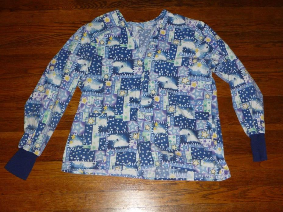 Womens Crest Blue Multi-Color Medium Scrub Top Medical LS Snap Button Up J