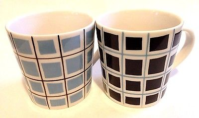 TWO COLLECTIBLE 2004 Starbucks Coffee Black & Blue Square Mugs! FREE SHIPPING!