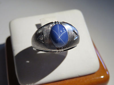 Men's 14K White Gold Synthetic Blue Star Sapphire Ring 8.3 Grams Size 9.25