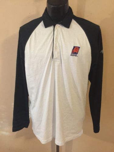 Phoenix Suns Antigua Sport Black & White Polo Shirt Size L 100% Cotton NBA