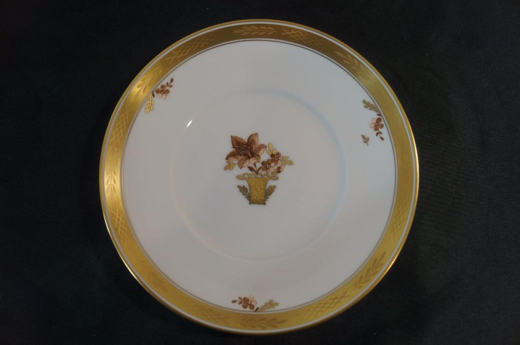 Set of 6 Royal Copenhagen Golden Basket 595 Pattern Dessert Plates C 1969 - 1974