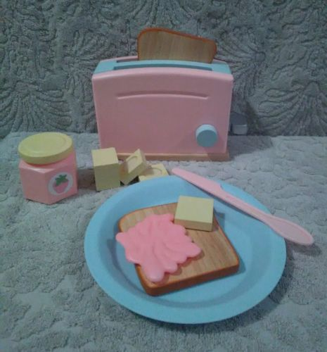 Kids Pink Wooden Toaster Kitchen Play Set Accessory..ABSOLUTELY ADORABLE..LOOK!!