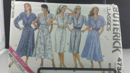 Butterick Classics 4734 Dress Long or Short Sleeve Size 8 10 12 Free Shipping