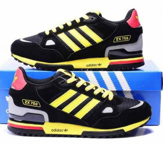 MEN'S BLACK AND YELLOW ADIDAS ORIGINALS ZX750