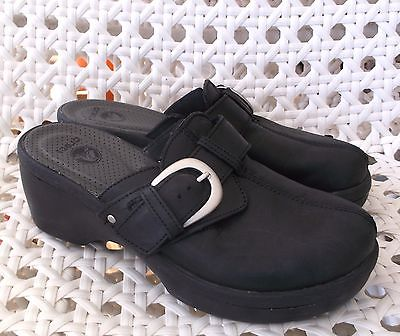 Crocs Cobbler Buckle Black Leather Clogs Sandals Women's Size 6
