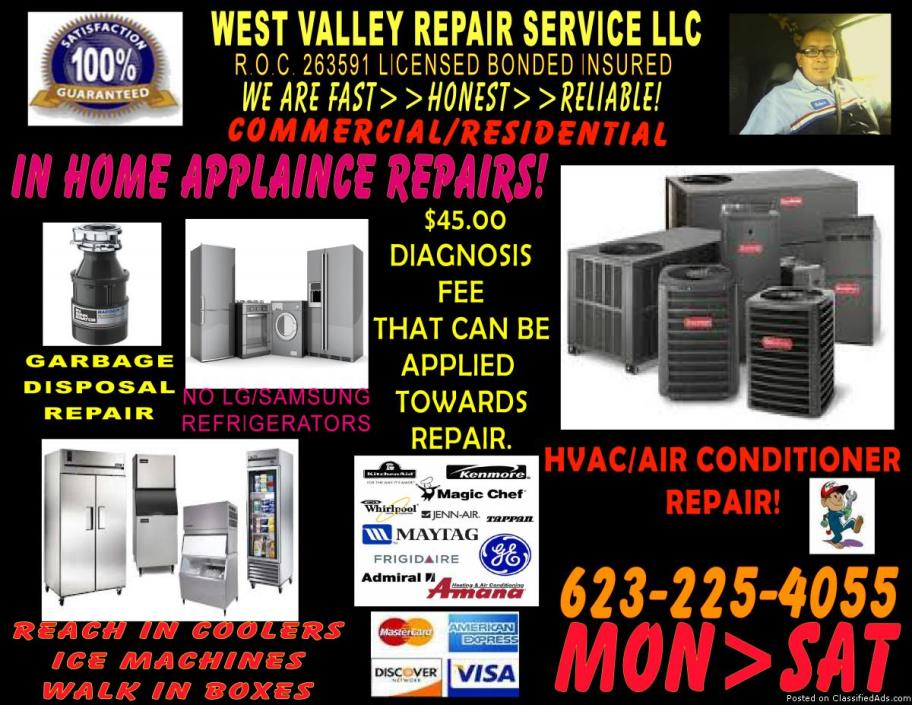 APPLIANCE Repair @ your door today! Washer--Dryer--Stove diagnosis $45.