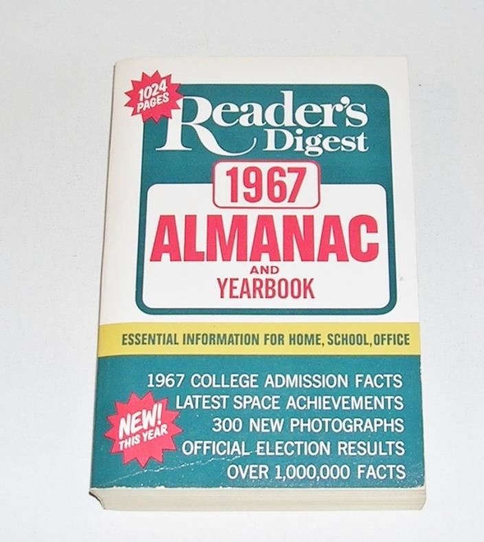 Vintage Reader's Digest 1967 Almanac and Yearbook, Beautiful Condition! 50 Years