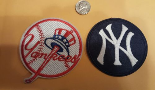 (2) New York Yankees Embroidered Iron On Patch Lot 3