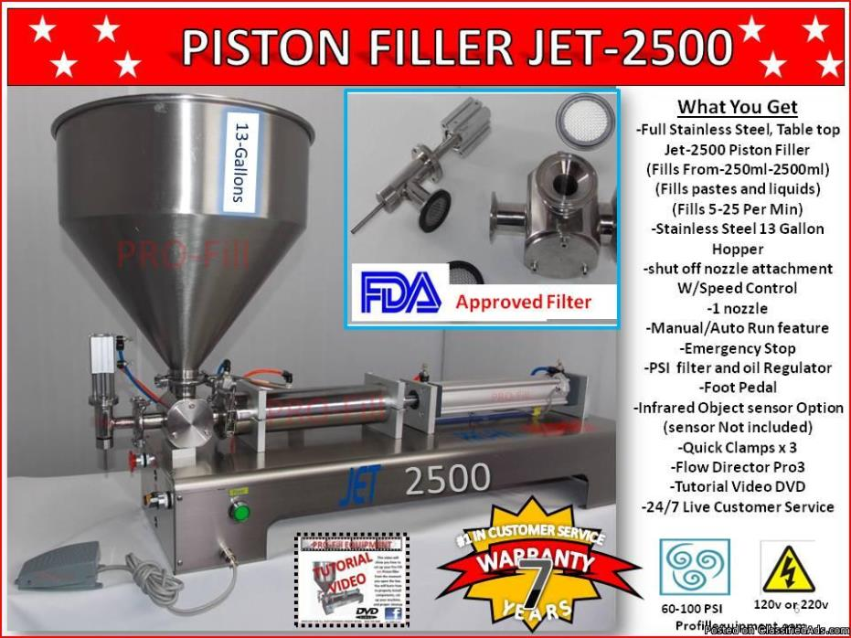 Piston Filler Single Head  JET-2500 Fills Liquids, Pastes, Scrubs, Peanut...