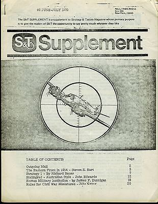 STRATEGY & TACTICS MAGAZINE SUPPLEMENT NO 3 JUN/JUL 1970 VG