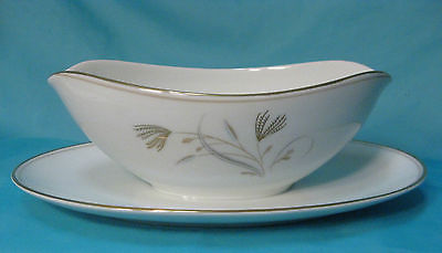 Noritake China Laverne Gravy Boat w/ Attached Plate