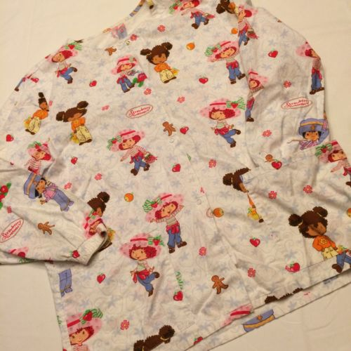 Strawberry Shortcake Long Sleeve Cotton Scrub Jacket Nurses Dental Medical Md/Lg