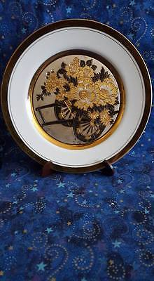 Art Of Chokin Etched Floral Cart Collector Plate; Gold Trim; Made in Japan