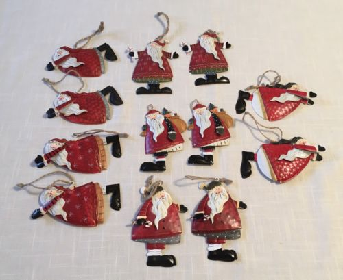 Set of 12 Metal Santa Claus Christmas Ornaments ~ 6 Different Designs ~ IOB