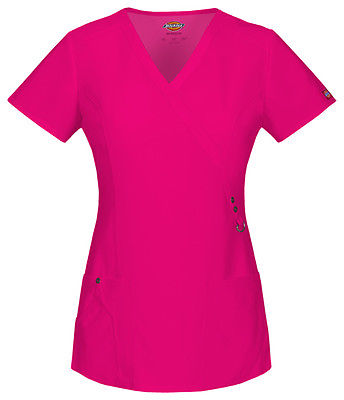 Dickies Mock Wrap Top 85956 Hot Pink HPKZ
