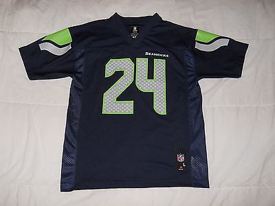 Marshawn Lynch Seattle Seahawks Vtg College Navy Youth Team NFL Jersey Sz: L