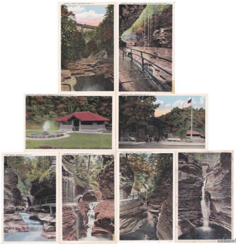 9 Vintage WATKINS GLEN New York Unused Postcards Gorge Falls