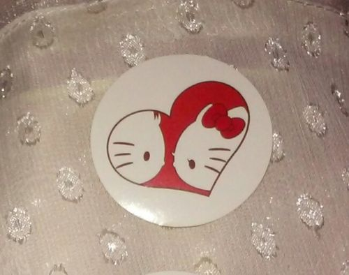 1-7/16in Hello Kitty & Dear Daniel Sticker LOVE BIRDS red heart profile bf gf