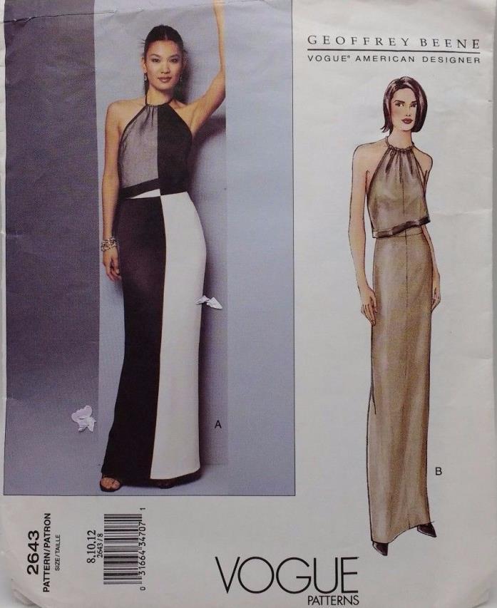 Geoffrey Beene Vogue Designer Dress Pattern Vogue 2643 Misses Evening Dress 8-12