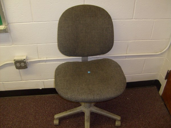 Grey Rolling Chair with No Arms
