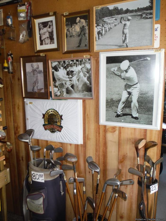 Antique and 40's, 50's Pro golf clubs